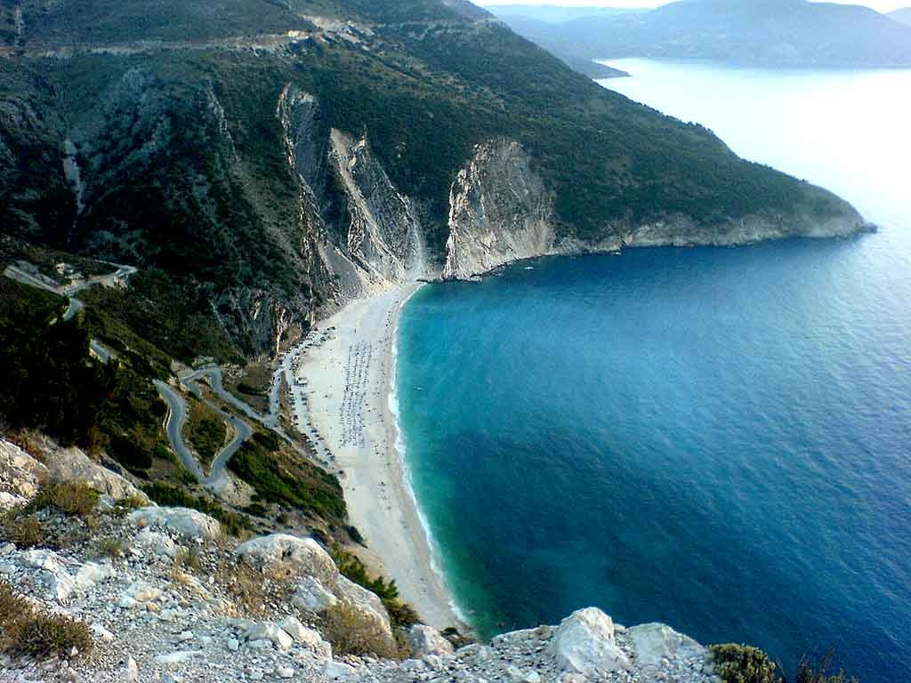 The blue waters of Myrtos beach in Kefalonia from atop.
