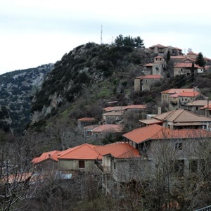 Partial view of a small village in the Greek countryside of the Peloponese - Stemnitsa.