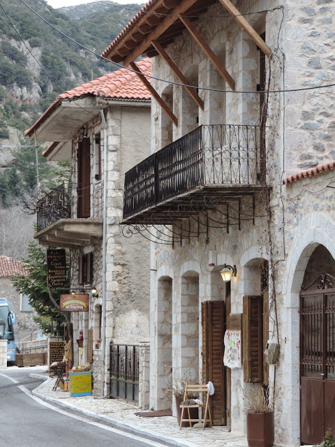 View of Stemnitsa village in the Pellopponese Greece from the main road.