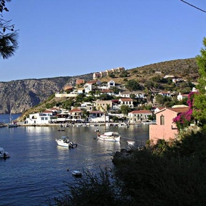 View of the seaside village of Assos on the west coast of Kefalonia