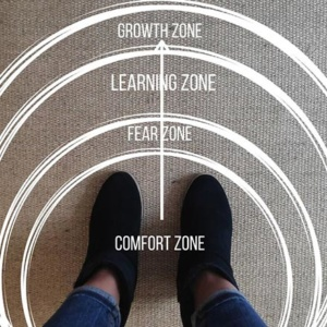 View of Velvet's legs standing on a rug with different zoning denoted (comfort, fear, learning, growth).