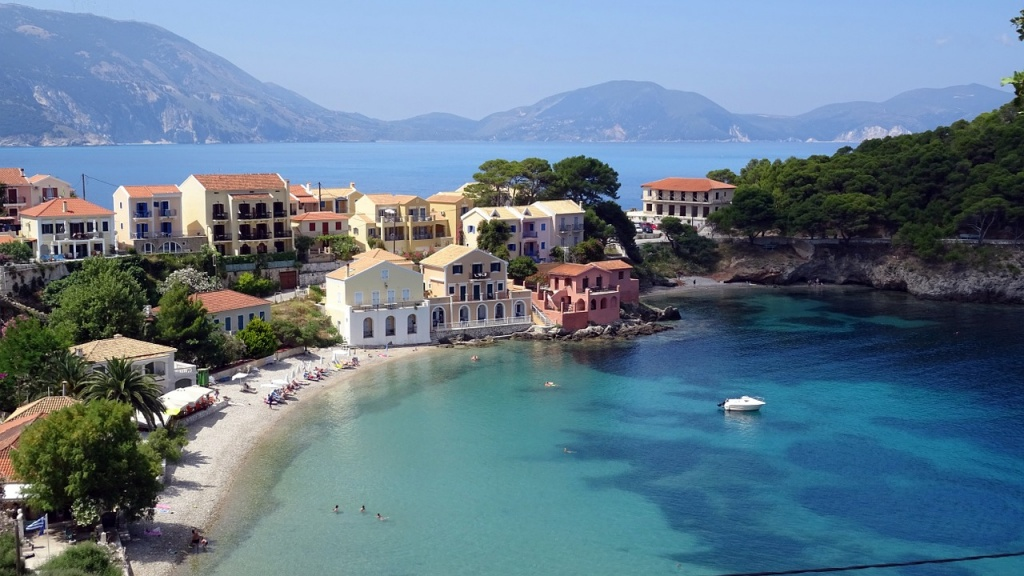 View of the seaside village of Assos in Kefalonia