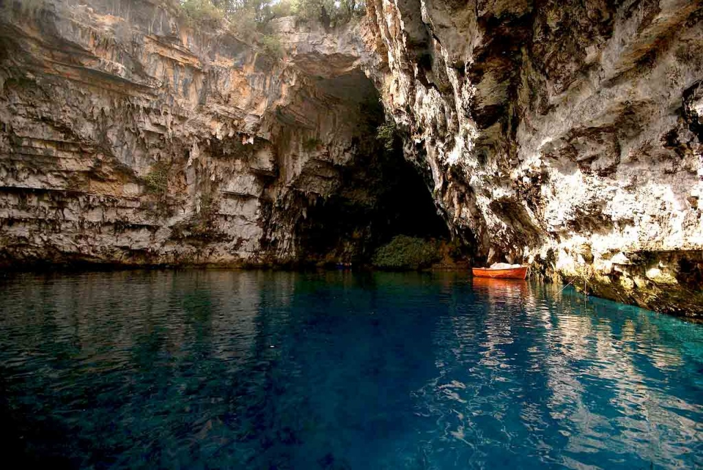 View of the lake of Melissani in Kefalonia, suitable for boating.