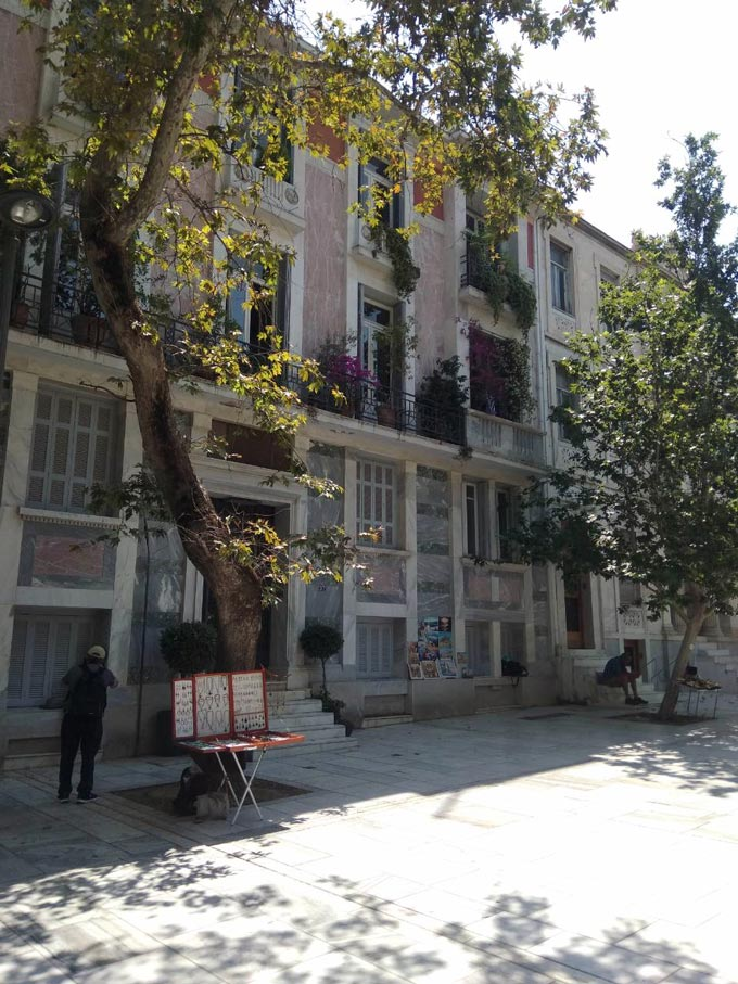 Houses found on Dionisiou Areopagitou - one of the most beautiful pedestrian zones in Athens. Image by Elisabeth.