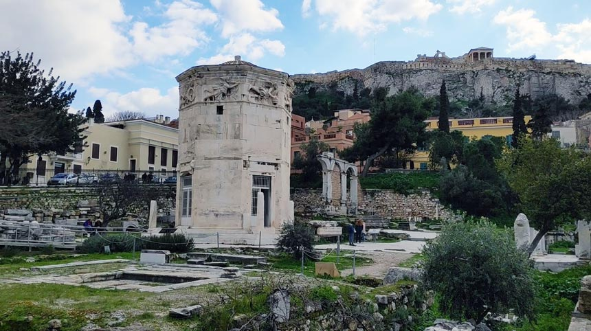 Quarter of Plaka with the monument of the Winds.