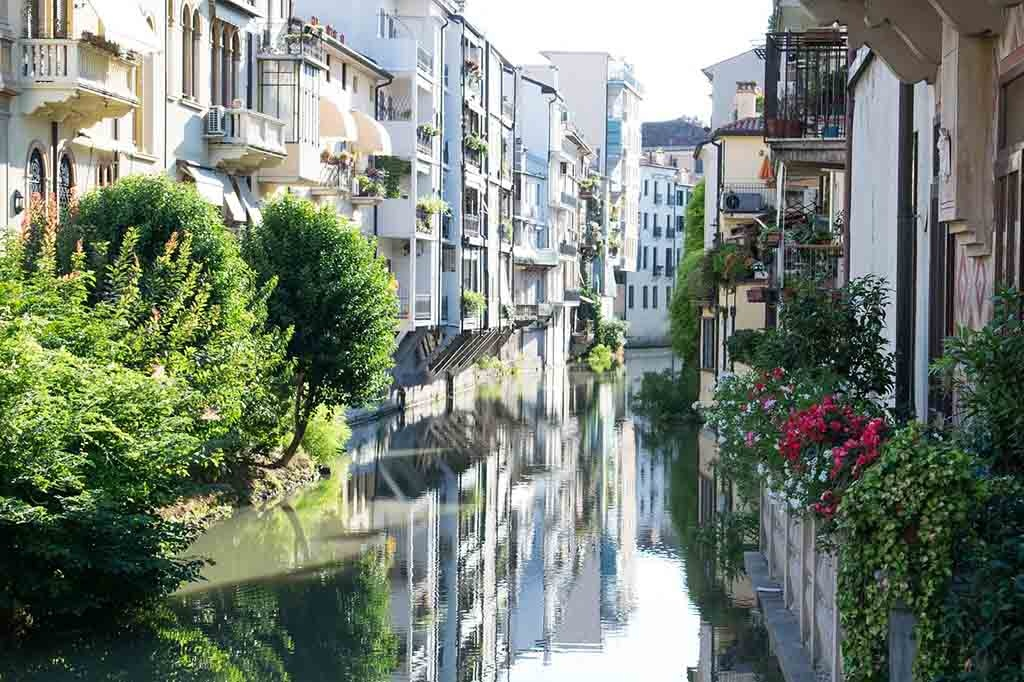 A view of a canal in an Italian city with residences left and right but greenery squeezed in between
