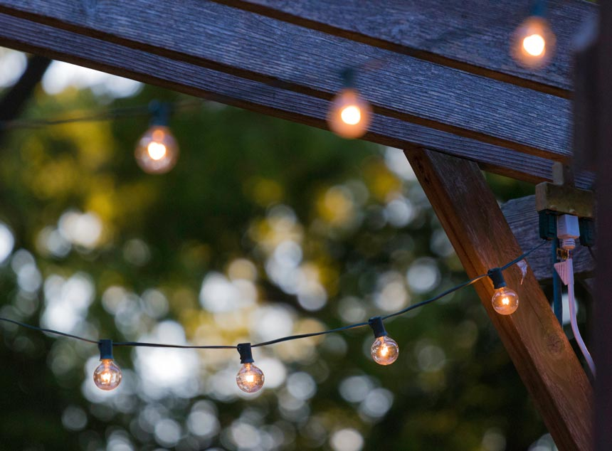 Detail of string lights forming a canopy.