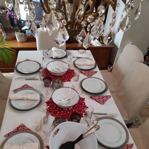View of a Christmas tablescape from above. Image by Velvet.