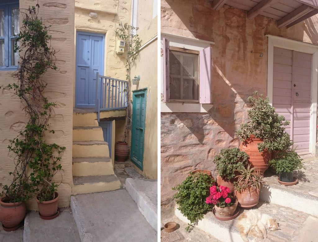 Two different facades of traditional homes in Ano Syros.