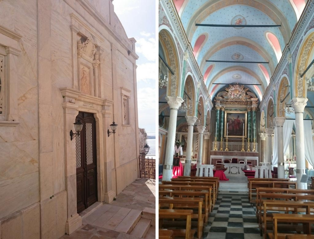 Left: The marble facade of a Catholic Church in Ano Syros. Right: The inside of the Catholic Church of Saint George found on the top of the hill of Ano Syros.