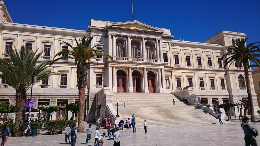 The old town hall designed by Ziller, at Hermoupolis Syros.