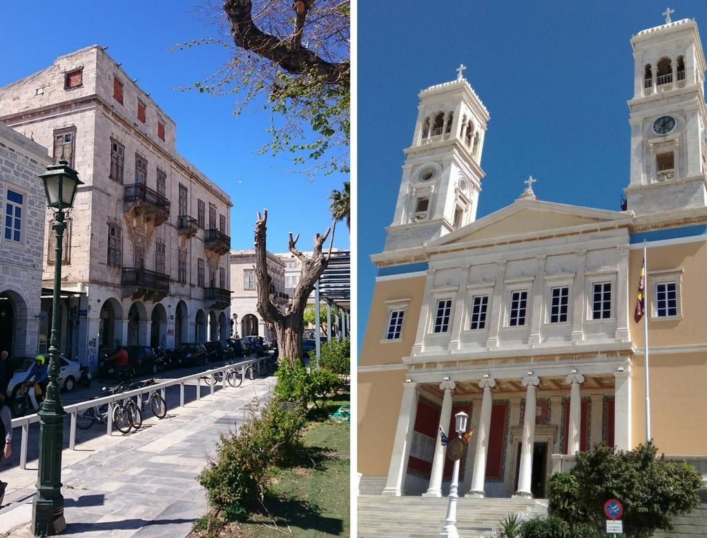 Left: View standing from the Miaouli Square. Right: The Church of Saint Nicholas.