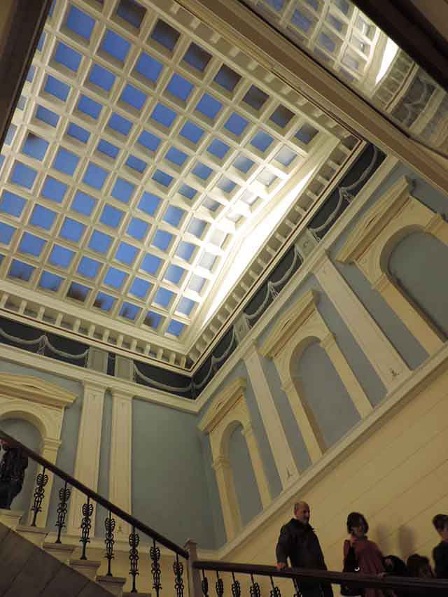View of the high ceiling inside the historical building of the town hall of Hermoupolis