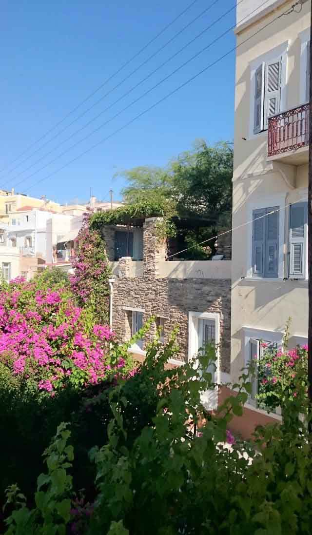 View of two old houses found in one of the neighborhoods in Hermoupolis Syros