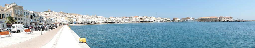 Panoramic view of the port of Syros