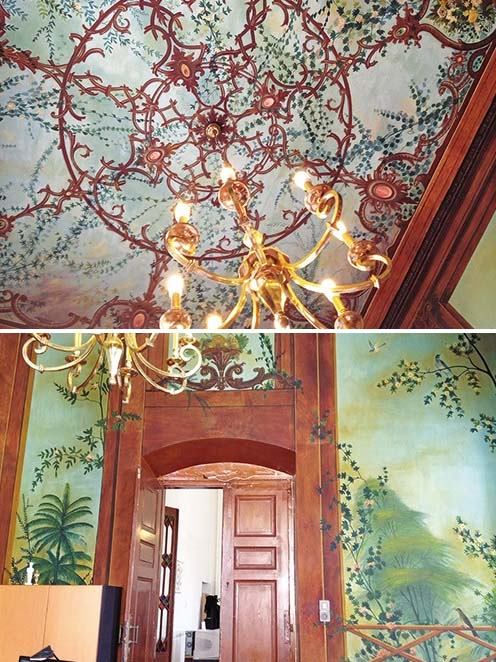 Top image is a ceiling mural. Bottom image of wall murals of green foliage.