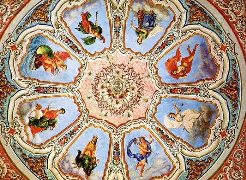 A beautiful mural on a decorated ceiling in a house in Hermoupolis, Syros