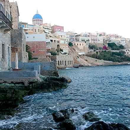 seaview from the Quarter of Vaporia in Syros
