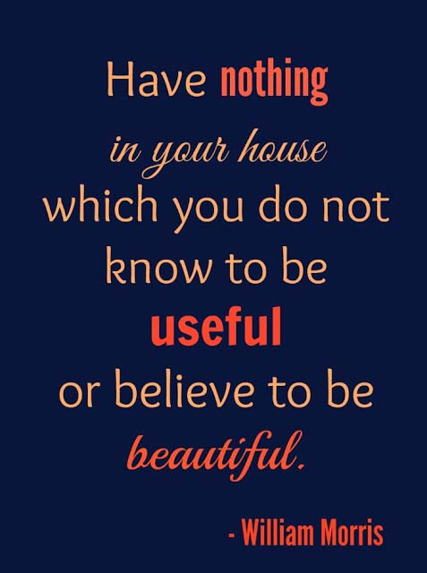 A quote by William Morris that reads Have nothing in your house which you do not know to be useful or believe to be beautiful.