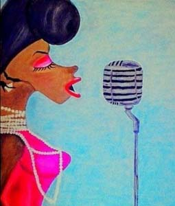 A drawing of a colored lady singing into a retro mike