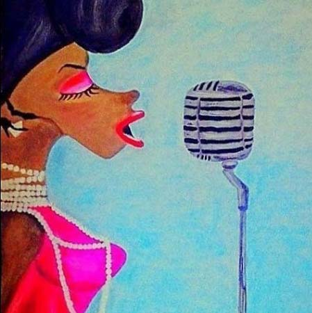A drawing of a colored lady singing into a retro mike. Artwork by Denise Riga.
