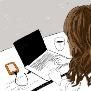 A sketch of a woman typing in a laptop.