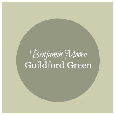Color sample of Benjamin Moore's Guildford Green