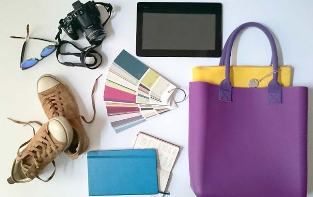 Handy stuff like bag, shoes, planner, tablet, camera and sunglasses