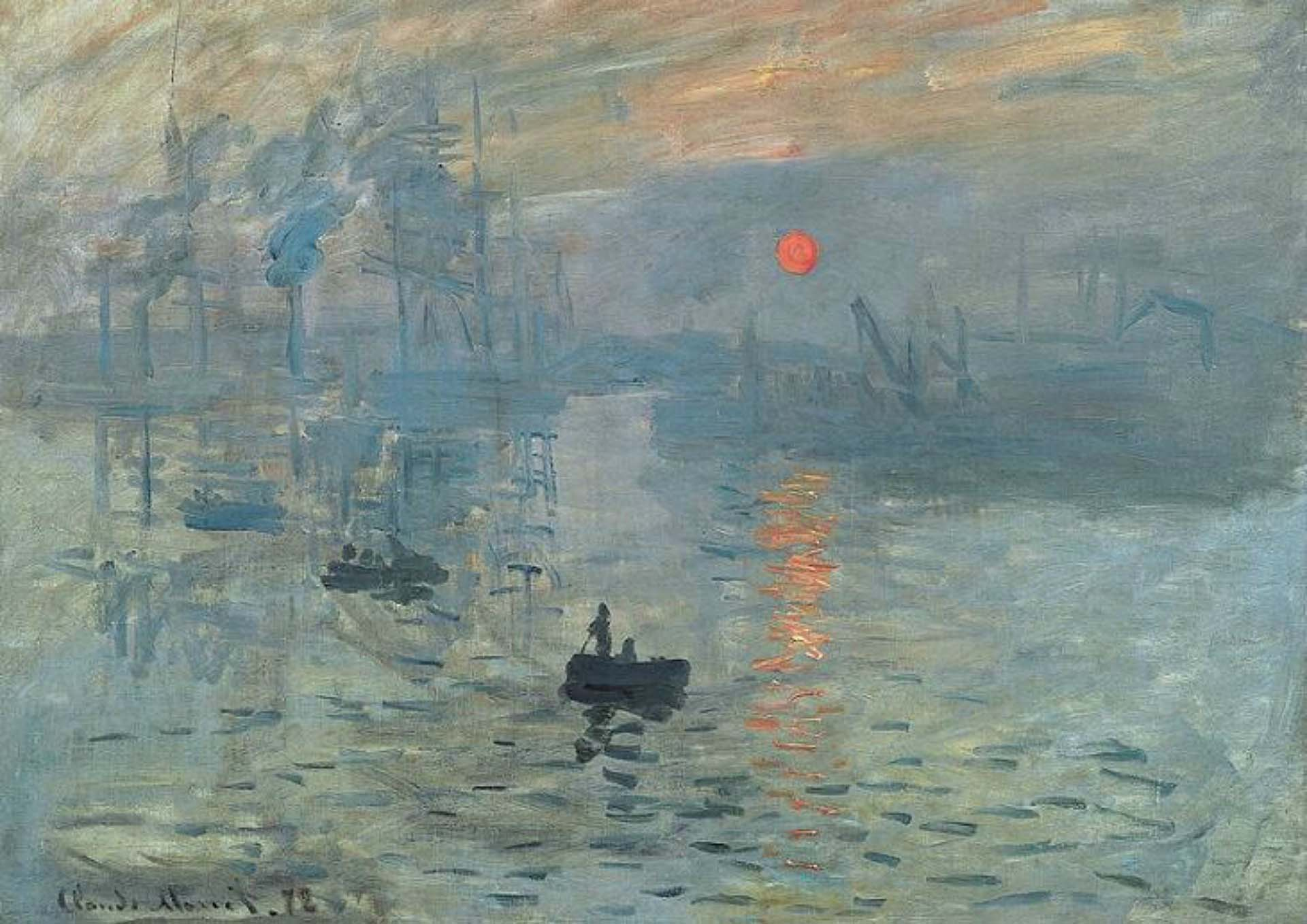 Image of the Sunrise by Claude Monet, muted blues with an orange sun
