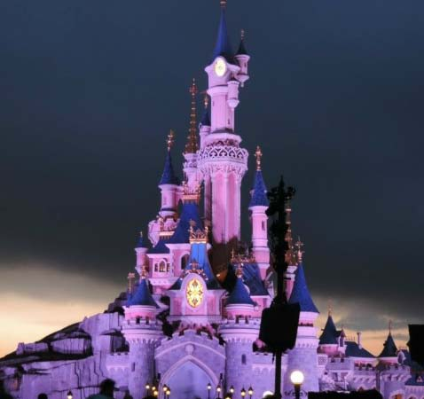 Disneys castle in Paris lit for the night-show