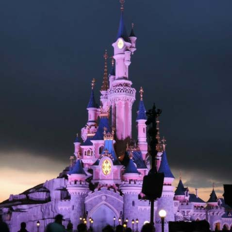 Disneys castle in Paris lit for the night-show
