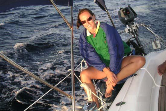 Velvet on the sailing boat