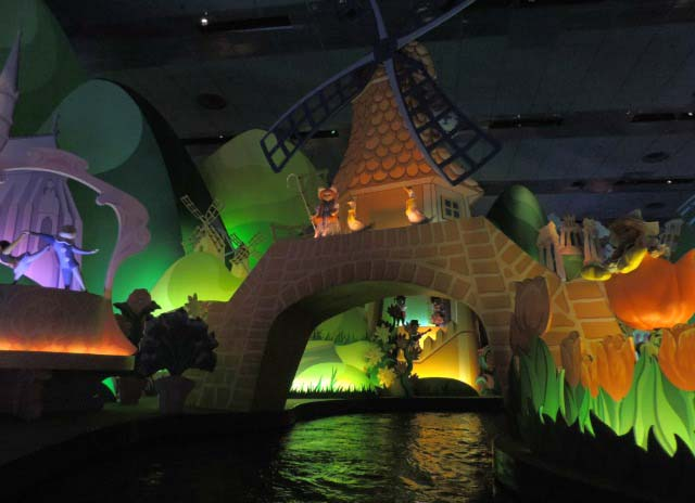 View of the Dutch dolls in front of a windmill. Picture taken from the ride: it's a small world.