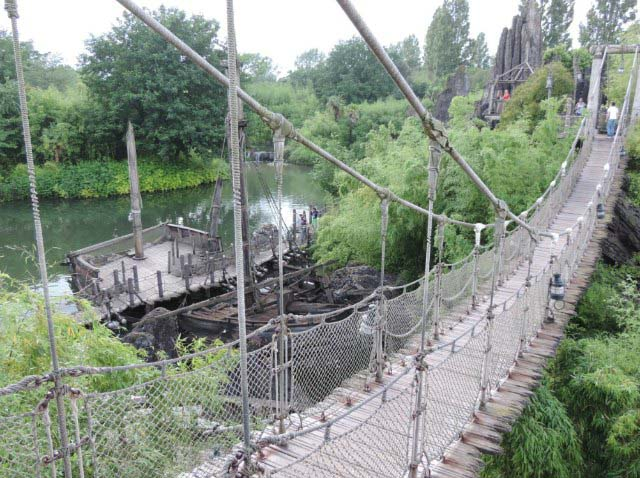 View of the suspended rope bridge in Disneyland Paris.