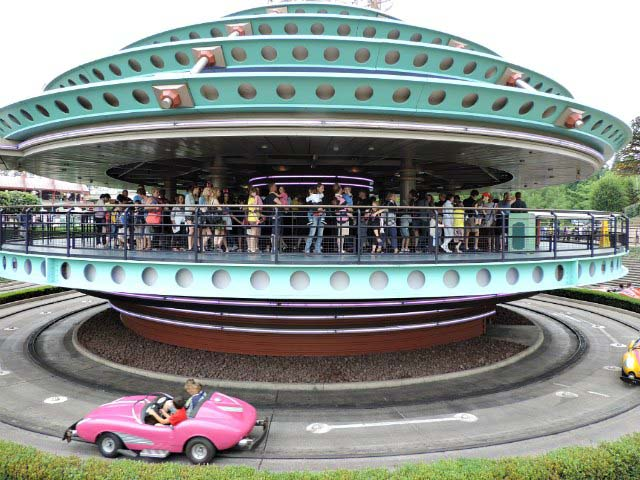 View of the line for a ride where the kids drive the car