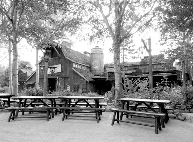 View of a frontier land restaurant. Black and white image.