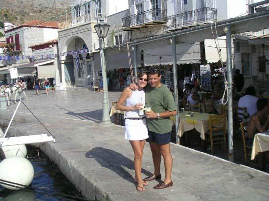 Velvet and George at Hydra port