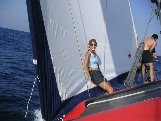 Velvet on the sailing boat at sea