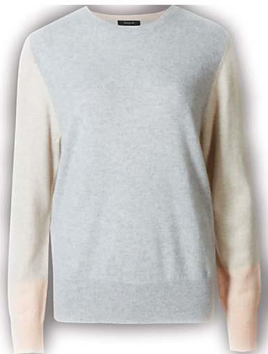 A color blocked cashmere knit.
