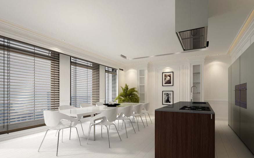 elegant dining room interior with white decor, large windows with blinds and an open plan fitted kitchen with center island,