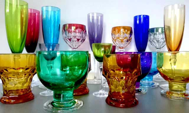A collection of colored glasses (some of which are crystal glass).