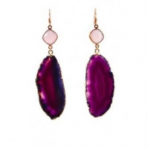 a pair of earrings made of pink quartz and purple agate