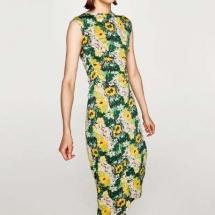 Maxi green and yellow print dress