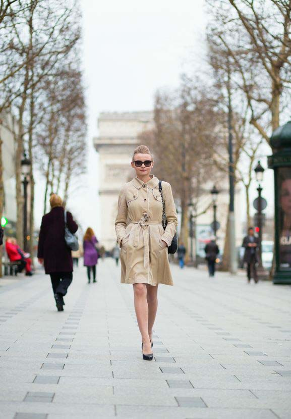 young trendy parisian woman in the street