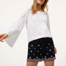 A white top over black riviera shorts