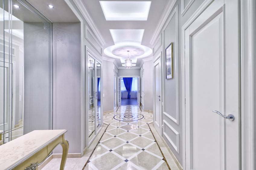 interior hall design with pattern marble flooring in luxury country house