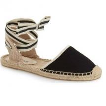 black flat espradille sandals