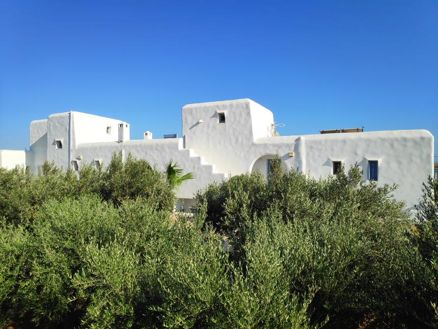 A whitewashed housing complex in Paros.