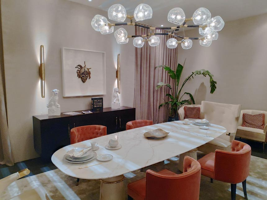 A luxurious dining room from Brabbu Design Forces stand at last year's Salone del Mobile 2019.