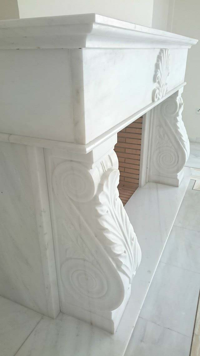 Detail of Pentelikon white marble carving of a fireplace mantel. Image for Te Esse by Velvet.